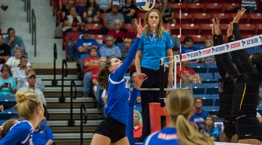 Page Hiebert had 17 kills to lead the Blue Dragons to a 3-0 Jayhawk West victory over Dodge City on Wednesday at the Sports Arena. (Allie Schweizer/Blue Dragon Sports Information)