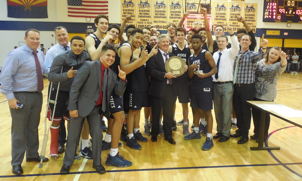 The Aztecs men's basketball team defeated Phoenix College 102-99 to capture the Region I, Division II title. It is the program's first region championship since 2009. The Aztecs head to the NJCAA Division II tournament in Danville, IL from Mar. 21-25. Photo by Raymond Suarez