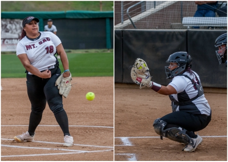 Olvera Twins Pitch/Hit Mt. SAC Softball to 7-1 Victory over L.A. Harbor