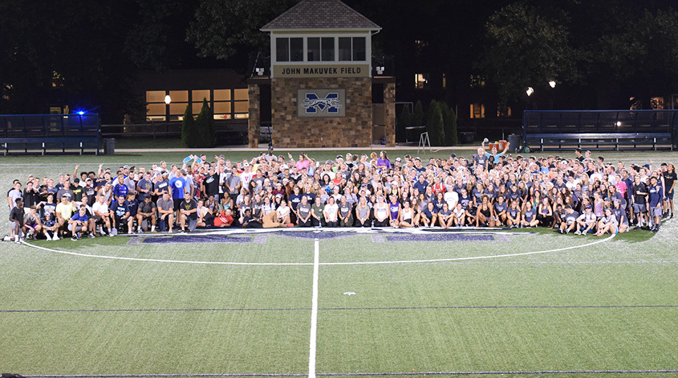 Moravian's 2018-19 student-athletes at the Student-Athlete Advisory Committee kickoff event on John Makuvek Field in August 2018.