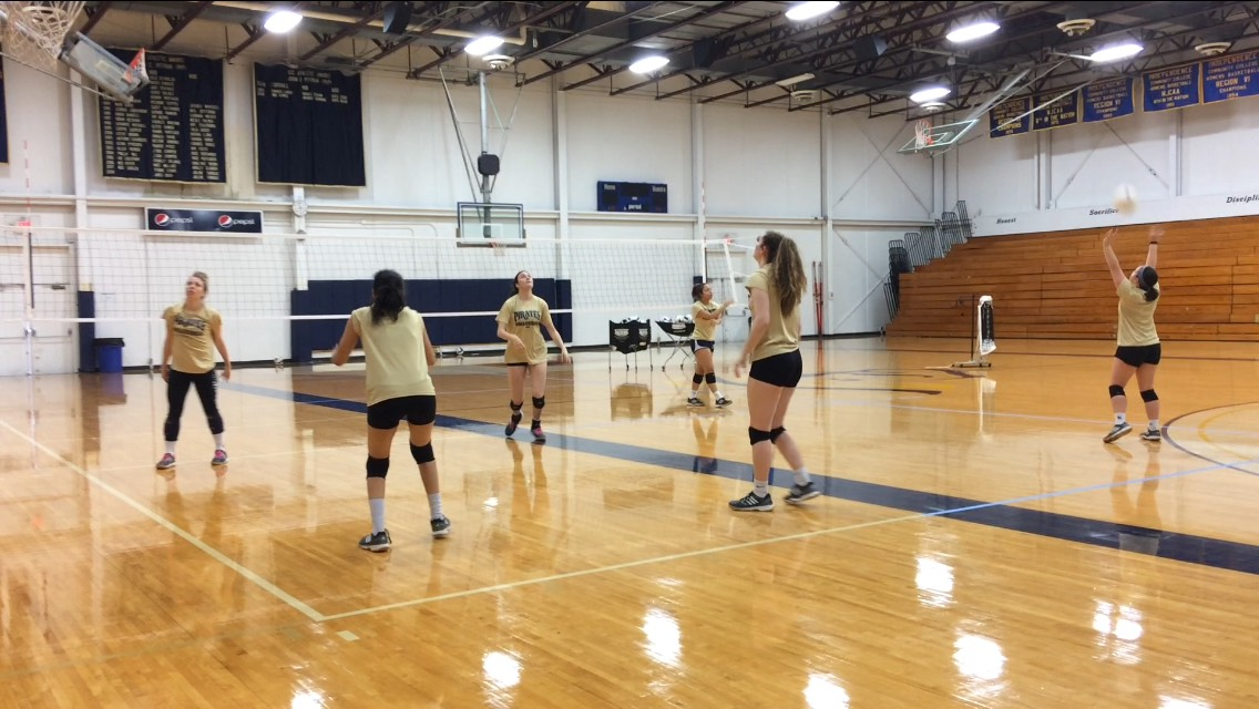 Women's volleyball team during practice at the Field House.