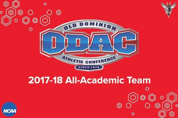 Red background with white honeycomb background. ODAC, Lynchburg, NCAA logos. Text: 2017-18 All-Academic Team