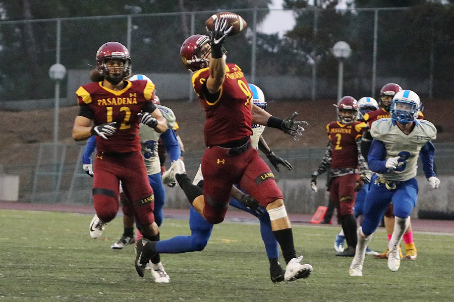 Lancer Forest Fajardo hauls in a 33-yard TD pass that gave PCC a lead in its 27-21 OT loss v. Allan Hancock on Saturday, photo by Richard Quinton.