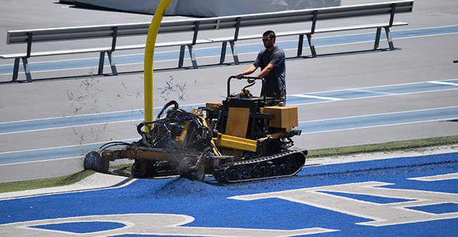 Work begins to replace the old Sportexe turf at Rocco Calvo Field after 13 years with a new Shaw Sports turf.