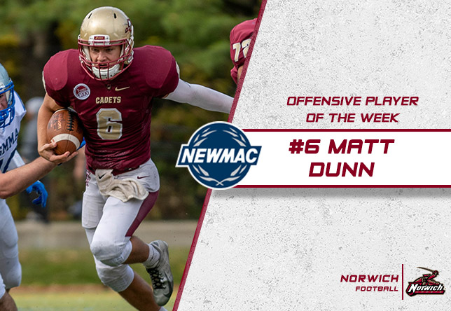 Football: Dunn Named NEWMAC Co-Offensive Athlete of the Week