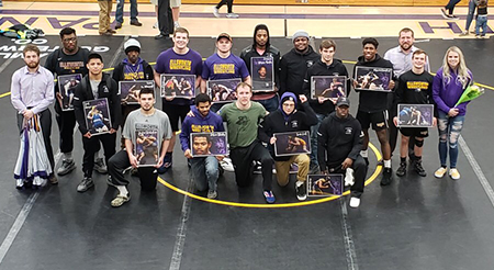 Panther wrestling with a victory on sophomore night