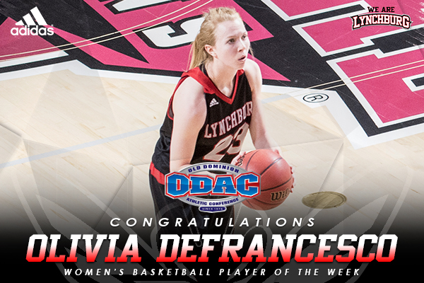 Olivia DeFrancesco ODAC women's basketball player of the week. Photo of Olivia shooting a free throw.