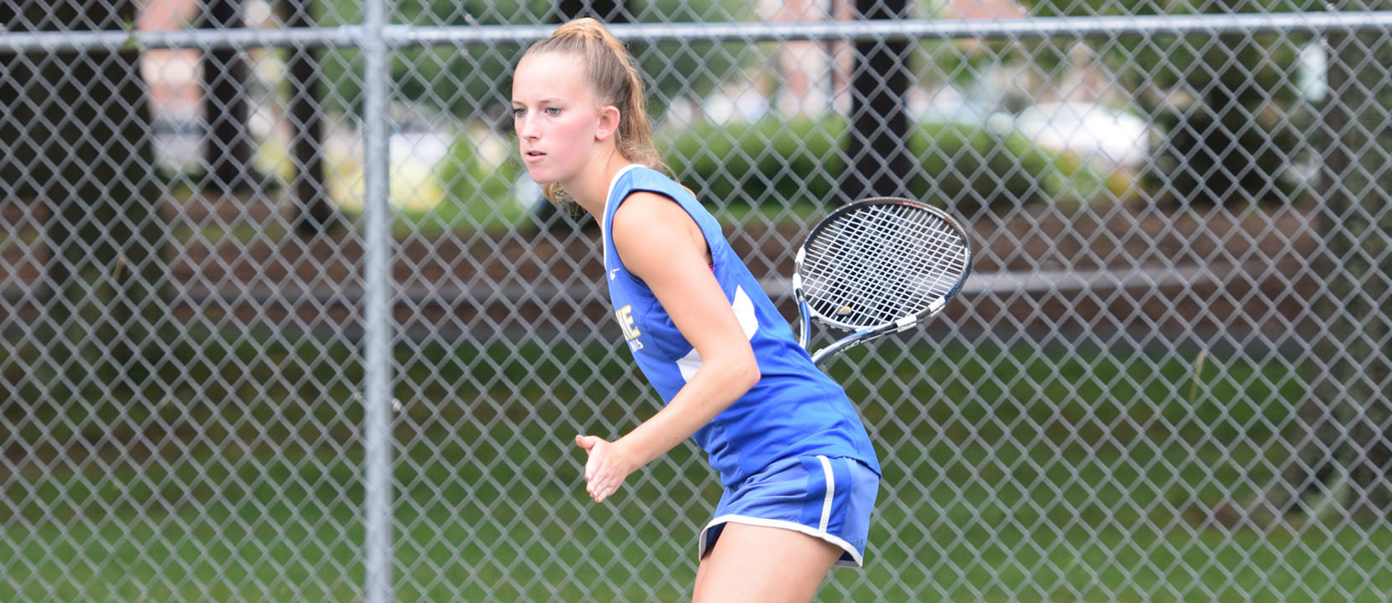Morgan Schrader posted a 6-3, 6-3 win at No. 2 singles against Anne Carsey of Gordon College on Wednesday. (Photo by Rachael Margossian)