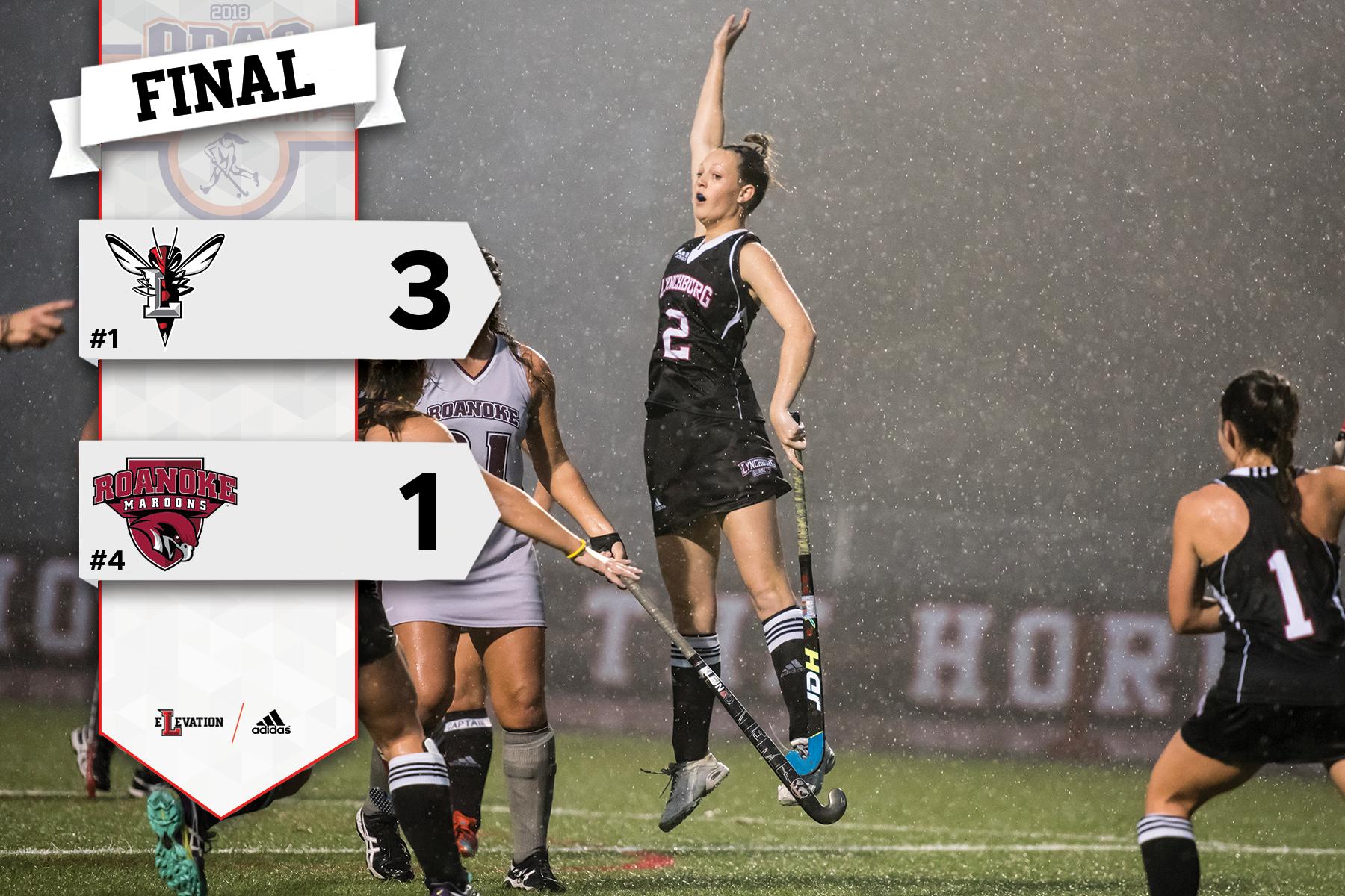Lynchburg's Emily Dudley jumps in the rain to celebrate a field hockey goal