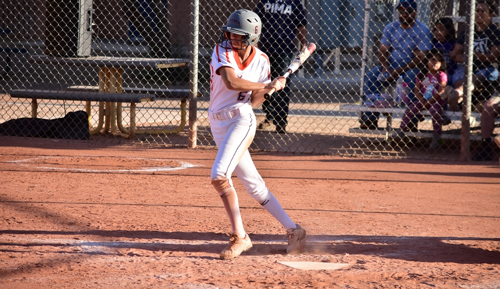 Sophomore Ariana Gomez (Sahuaro HS) went 4 for 6 with a run scored but the Aztecs softball team was dropped by No. 8 Yavapai College in an ACCAC Division I doubleheader. The Aztecs are now 14-13 overall and 10-10 in ACCAC conference play. Photo by Ben Carbajal