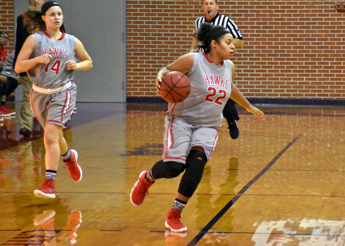 Mia Hudson (#22) and Payton Kiser (#14) combined for 34 points in Huntingdon's 68-58 win over LaGrange on Wednesday.