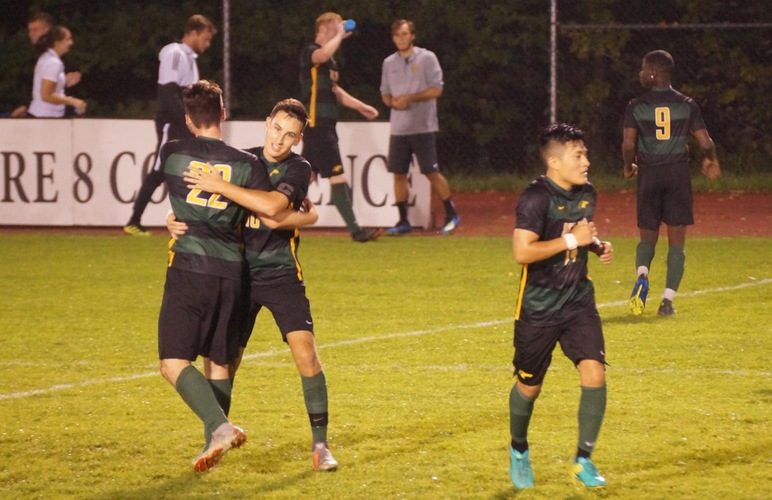 Men's Soccer Celebrates 2-1 Win at Hartwick in First-Ever Matchup