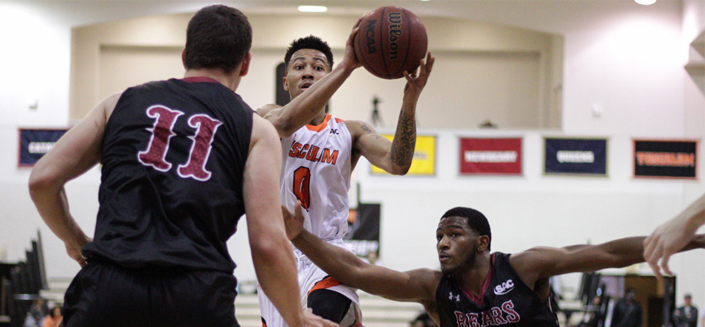 Donovan Donaldson scored a team-high 16 points in Tusculum's 82-79 home loss to Lenoir-Rhyne (photo by James Spears)