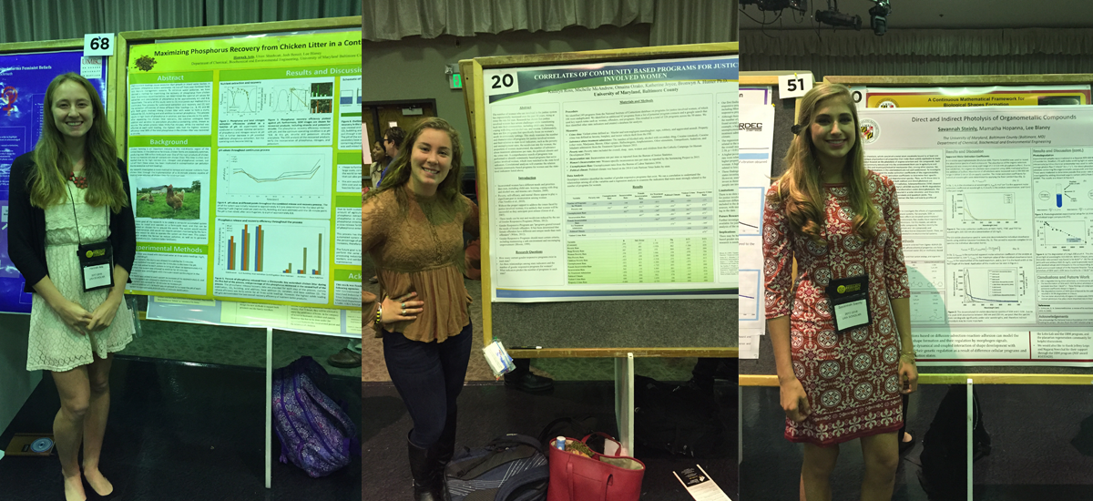 (L to R) Hannah Aris, Katie Ross, and Savannah Steinly all presented research at this year's Undergraduate Research and Creative Achievement Day (URCAD).