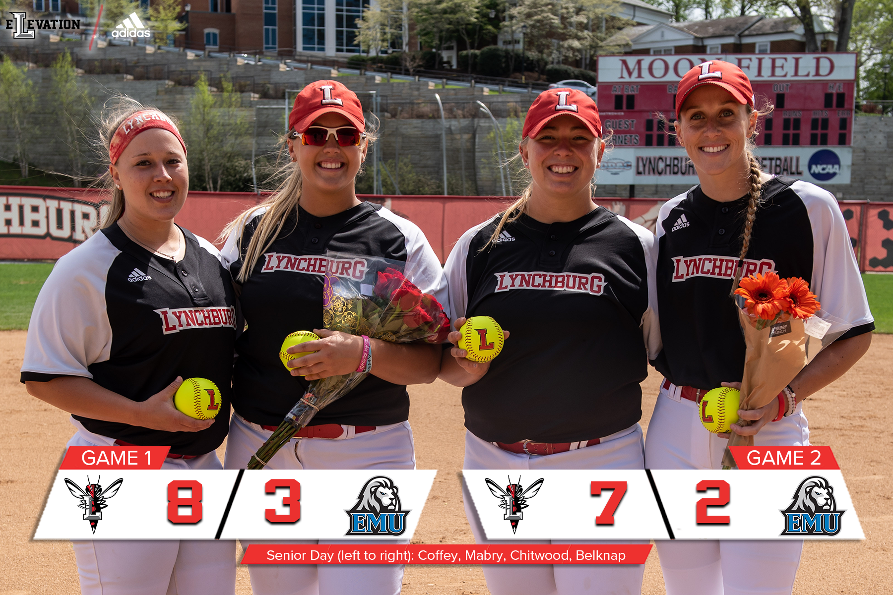 Lynchburg's four softball seniors pose in uniform