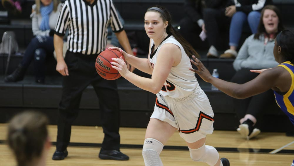 Women's basketball battles Webster in 78-63 tournament defeat; three honored with All-Conference awards