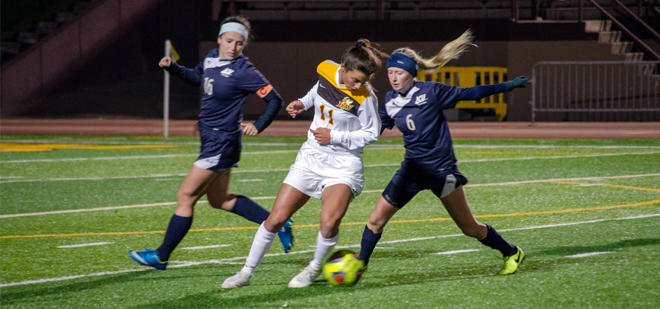 Senior All-OAC and Academic All-OAC forward Rachel Bender broke BW's all-time school assist record in the 3-2 win over John Carroll (Photo courtesy of Lori Kumorek)