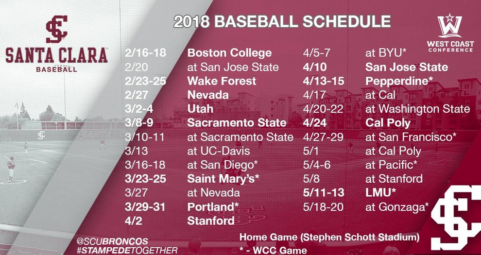Baseball Announces 2018 Schedule