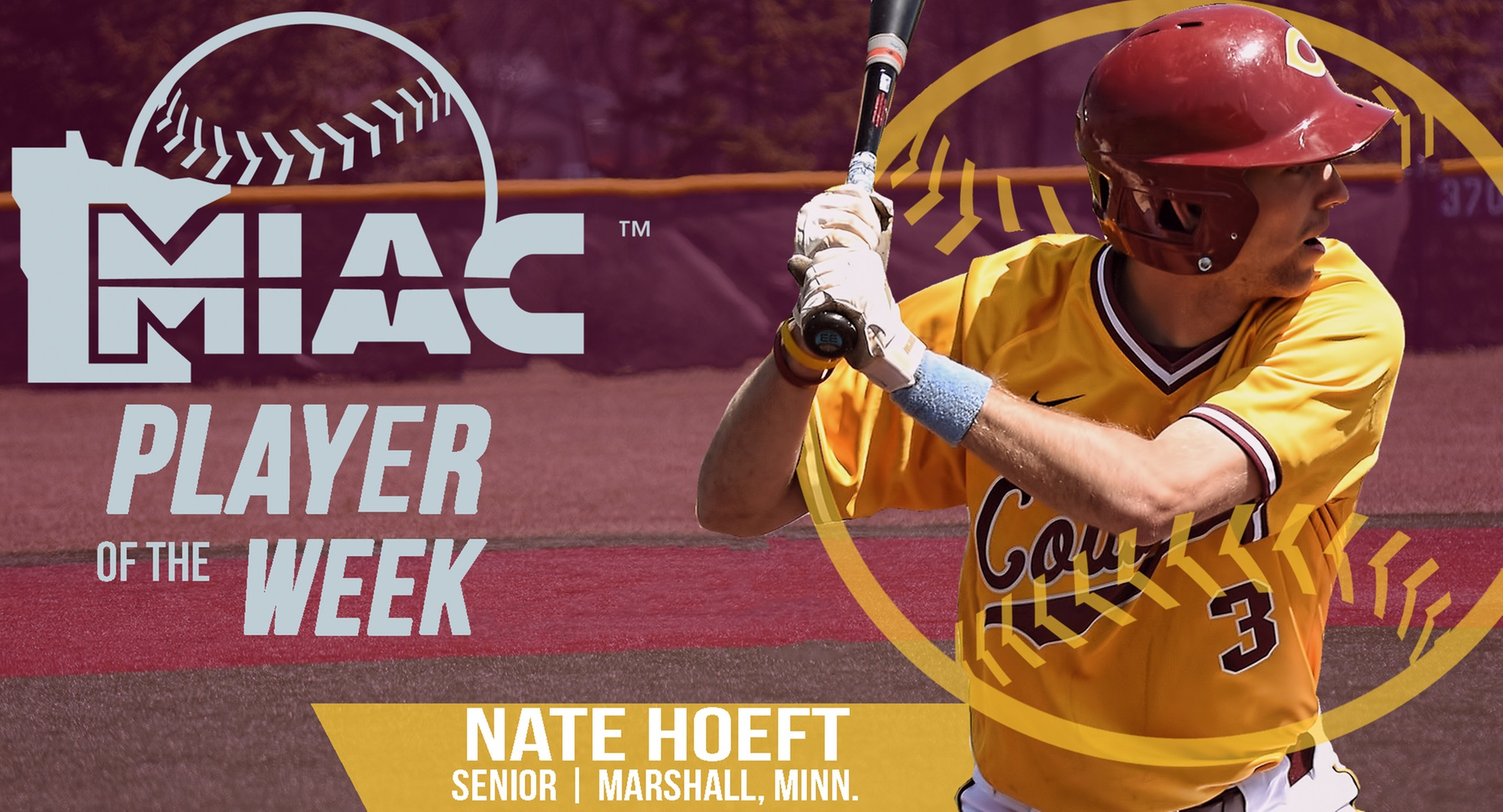 Senior Nate Hoeft earned his first-ever MIAC Player of the Week honor after hitting .526 in his first five games of the year.