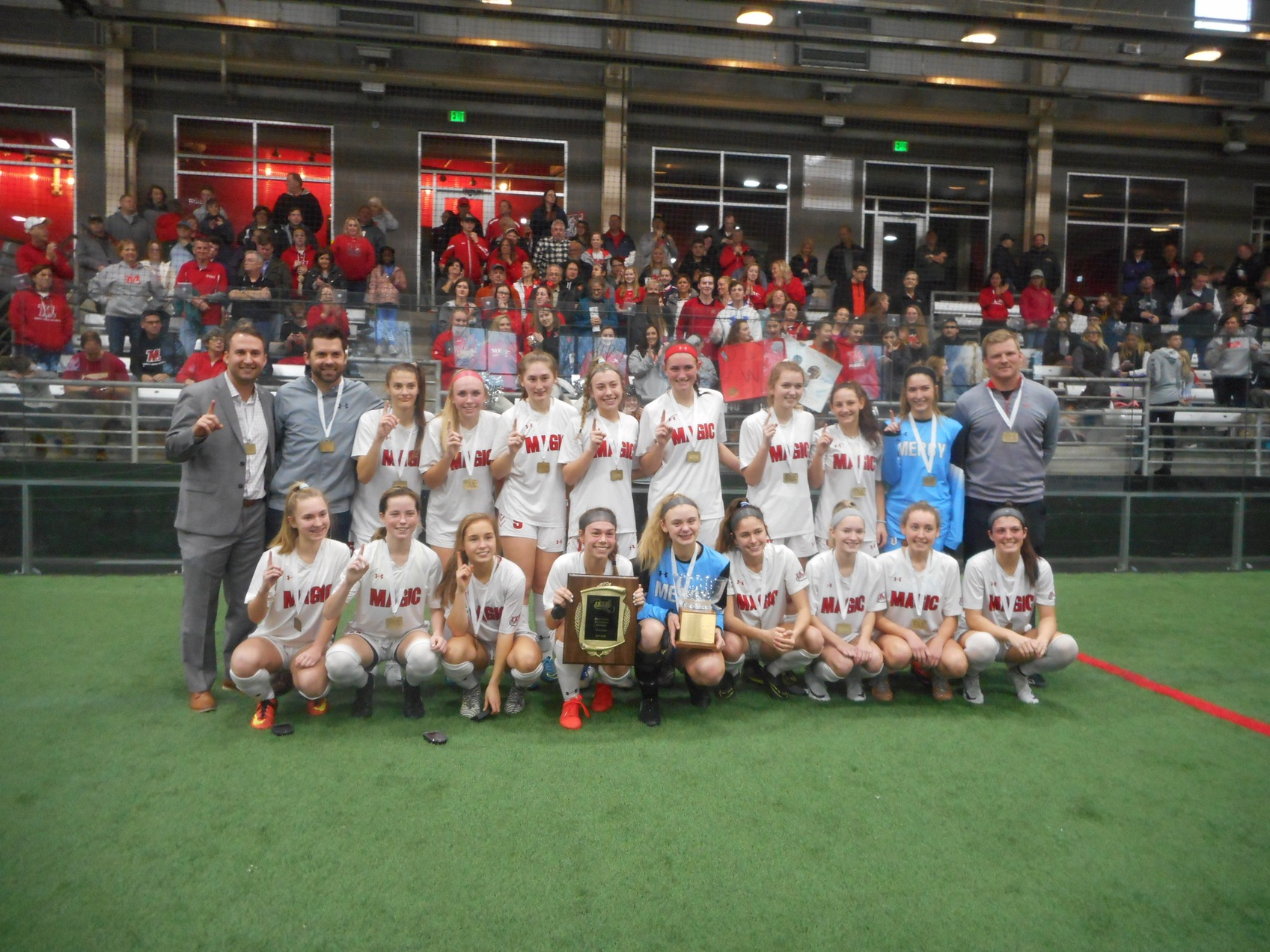 Mercy defeats Notre Dame Prep in indoor soccer to claim first A Conference crown