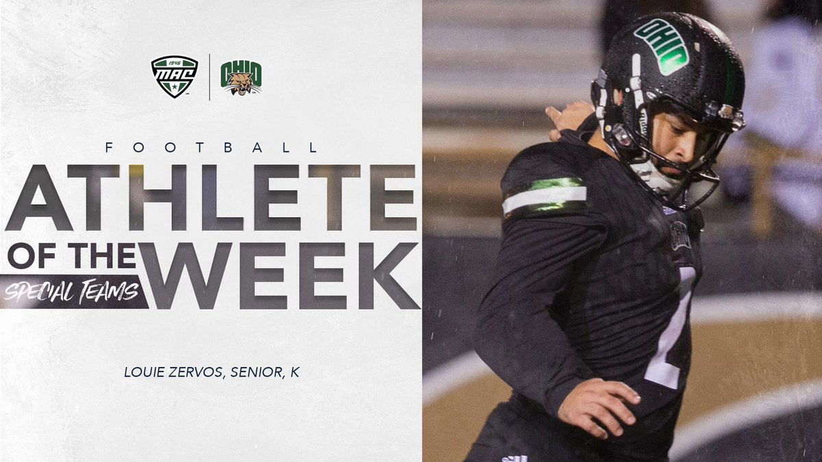 Ohio Football's Zervos Named MAC East Division Special Teams Player of the Week