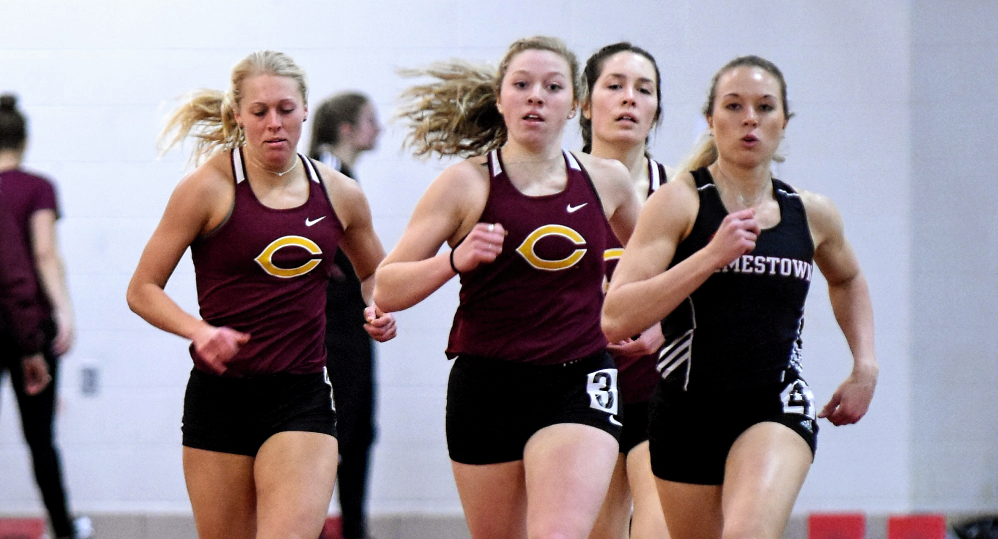 Miriah Forness (L) and Josie Herrmann posted a pair of MIAC Top 10 marks at the St. Benedict Invite.