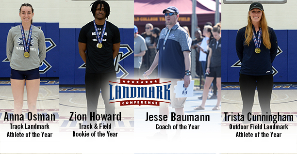 Anna Osman '19, Zion Howard '21, Head Coach Jesse Baumann and Trista Cunningham '18 receive major awards from the Landmark Conference.