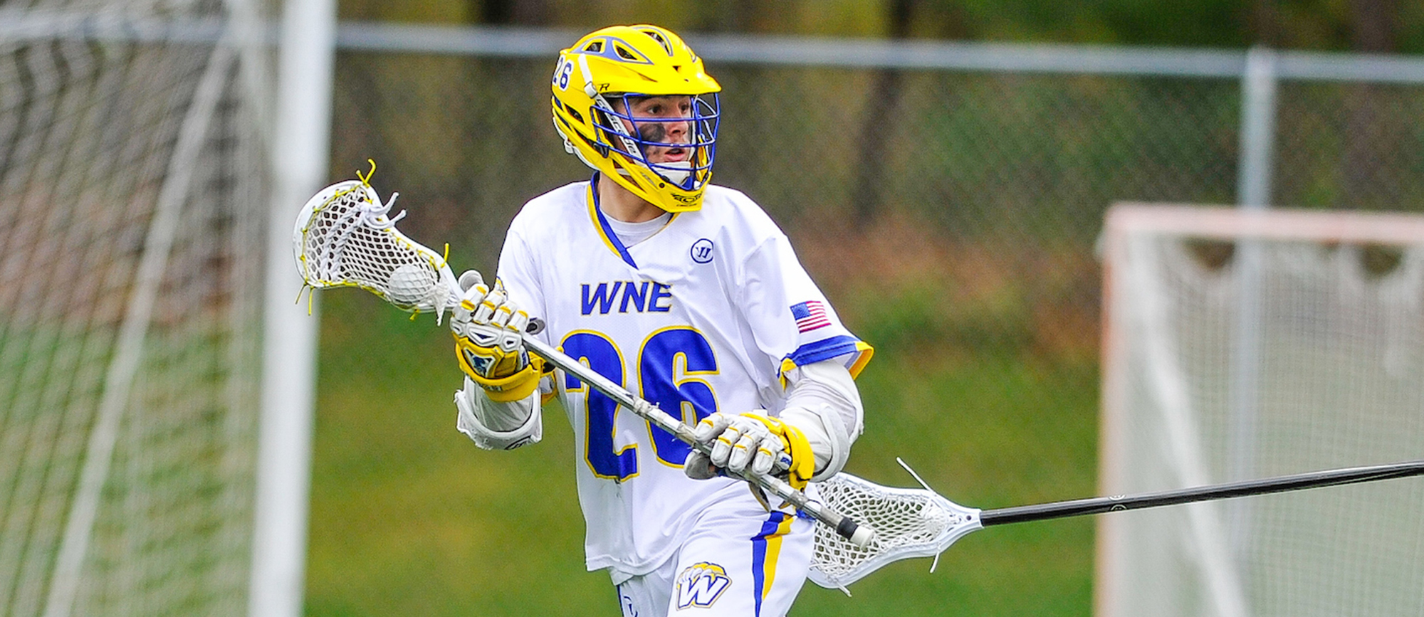 Junior Jared Ward recorded four points (two goals, two assists) in Western New England's 13-10 win at Keene State on Tuesday. (Photo by Bill Sharon/Spartan Sportshots)