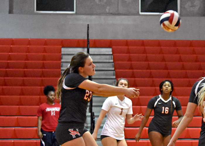 Amy Tyma (#23) had 33 kills and 40 digs in Huntingdon's sweep of Agnes Scott and Covenant on Saturday.