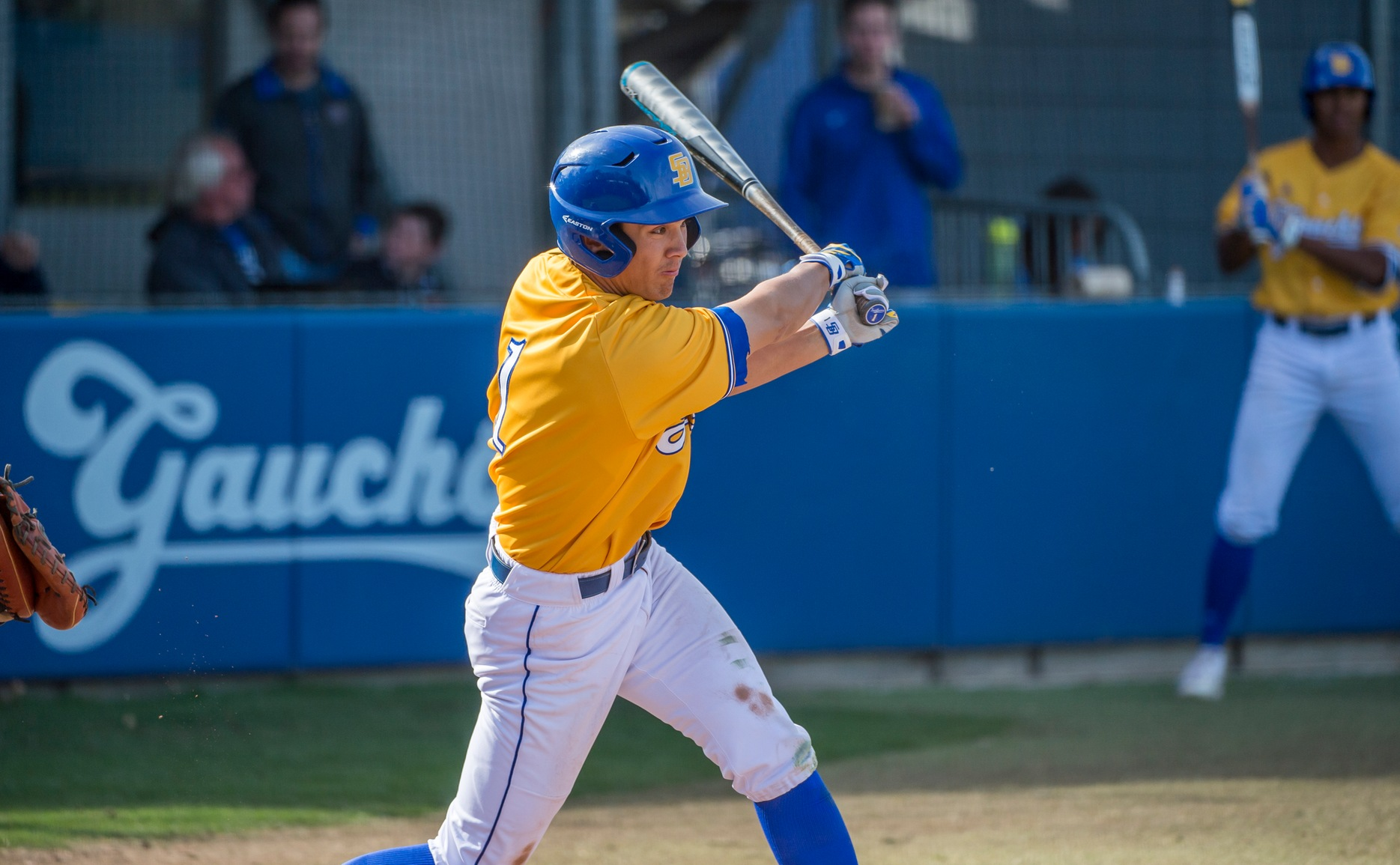 Tommy Jew was 4-for-4 with 2 runs, 5 RBI and a walk in Saturday's 14-2 Gaucho win over UC Riverside. Jew is 8-for-9 in the first two games of the series. (Photo by Eric Isaacs)