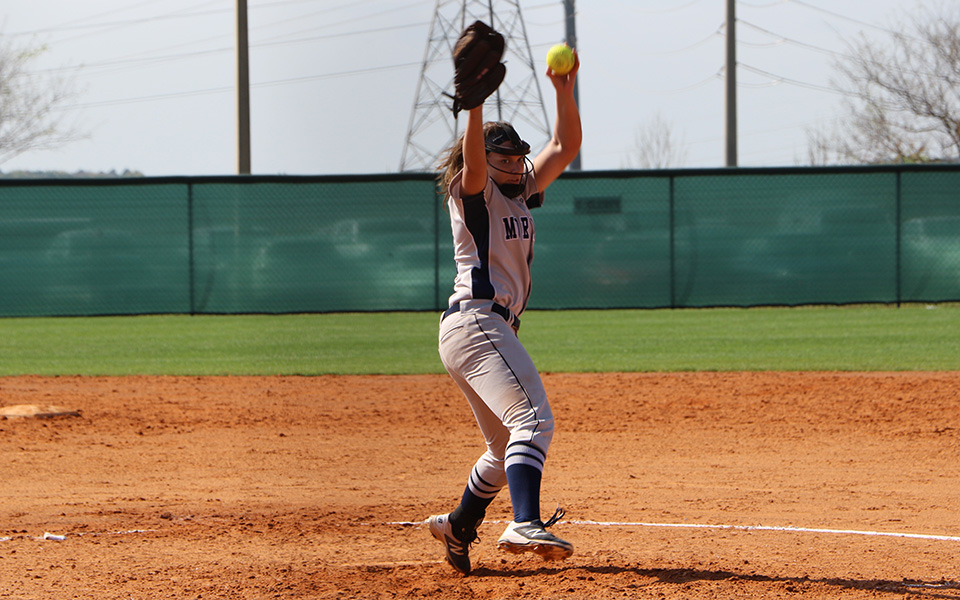 Freshman Alexandria Scheeler delivers a pitch versus Emmanuel (Mass.) College at the Spring Games in Clermont, Florida.