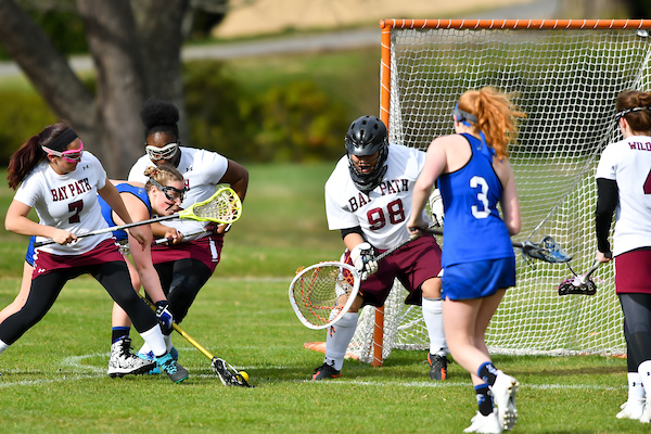 Bay Path hangs on to win tight NECC 1st Round lacrosse game 11-10 over Newbury College.