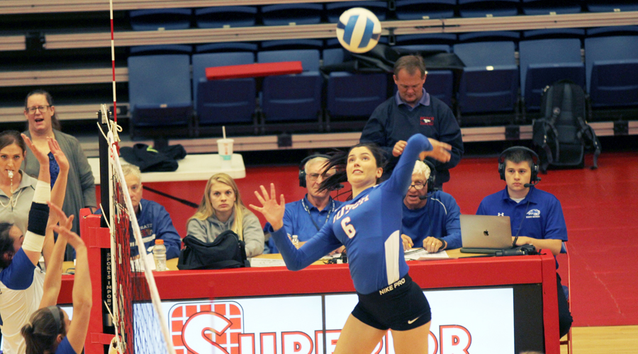 Elena Takova has a match-high 13 kills on .435 hitting to lead the Blue Dragons to a Region VI Tournament opening-round sweep of Pratt on Wednesday at the Sports Arena. (Bre Rogers/Blue Dragon Sports Information)