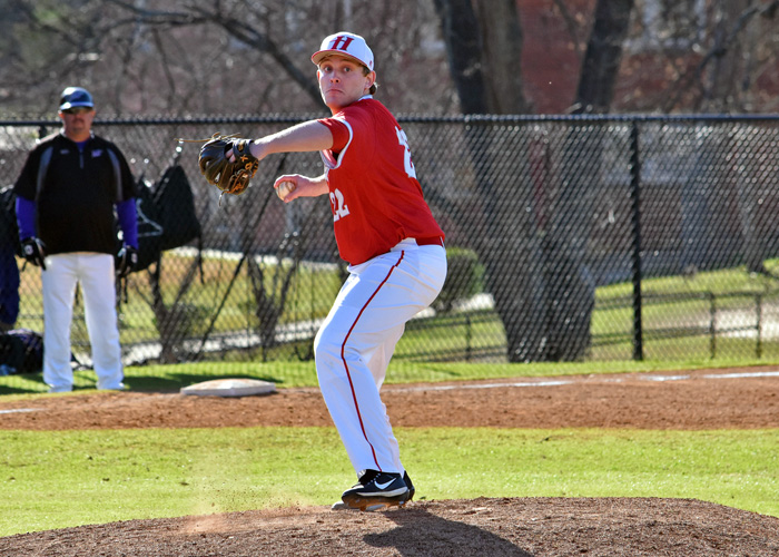 Senior C.J. Sauce pitched 5 1/3 innings, striking out four, walking two and scattering three hits in Saturday's loss to fourth-ranked Emory. (Photo by Wesley Lyle)
