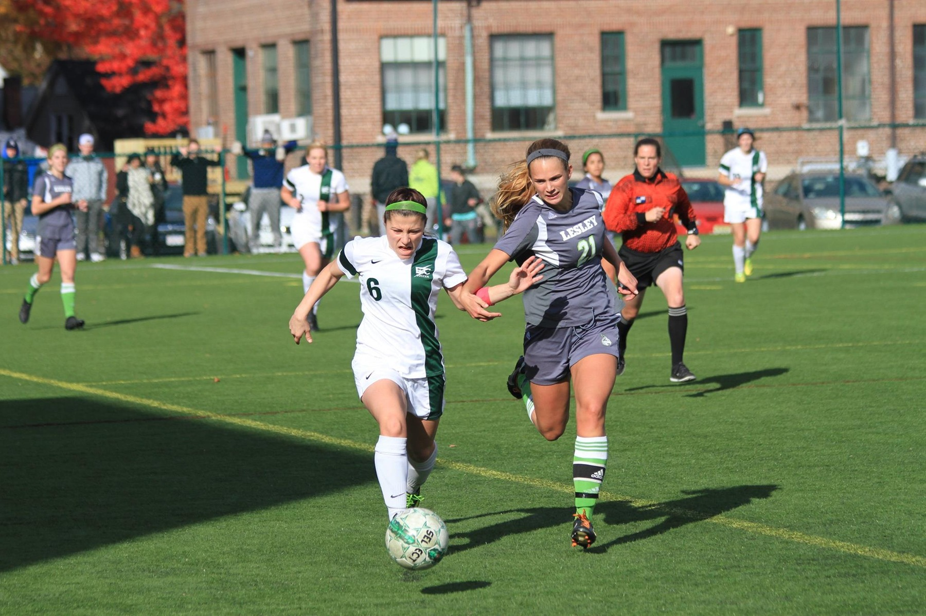 Lesley Outlasts Women's Soccer In NECC Action