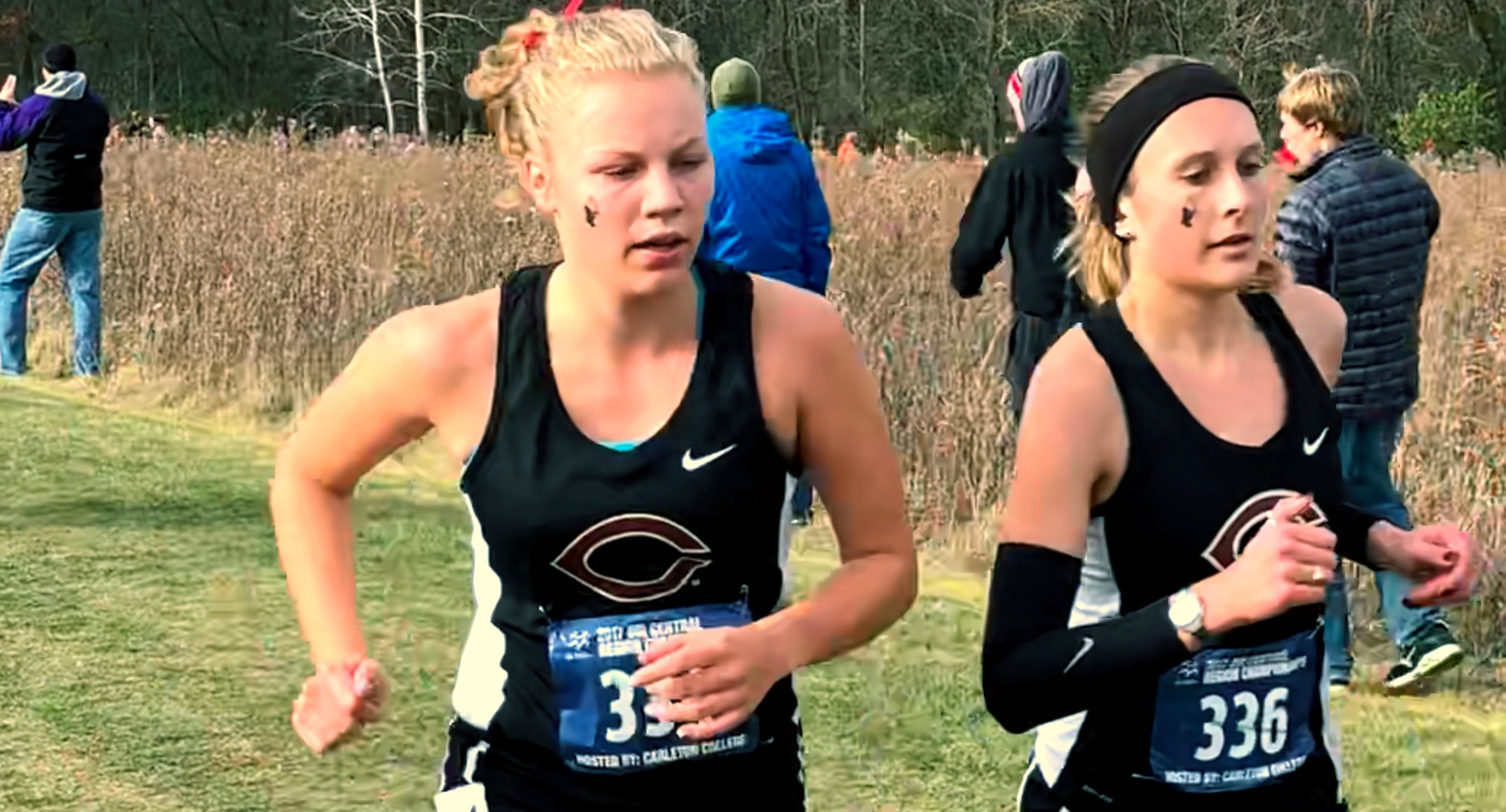 Kara Andersen (L) and Brianna Gruenberg paced each other at the NCAA Region Meet as they led the Cobbers with Top 60 finishes.