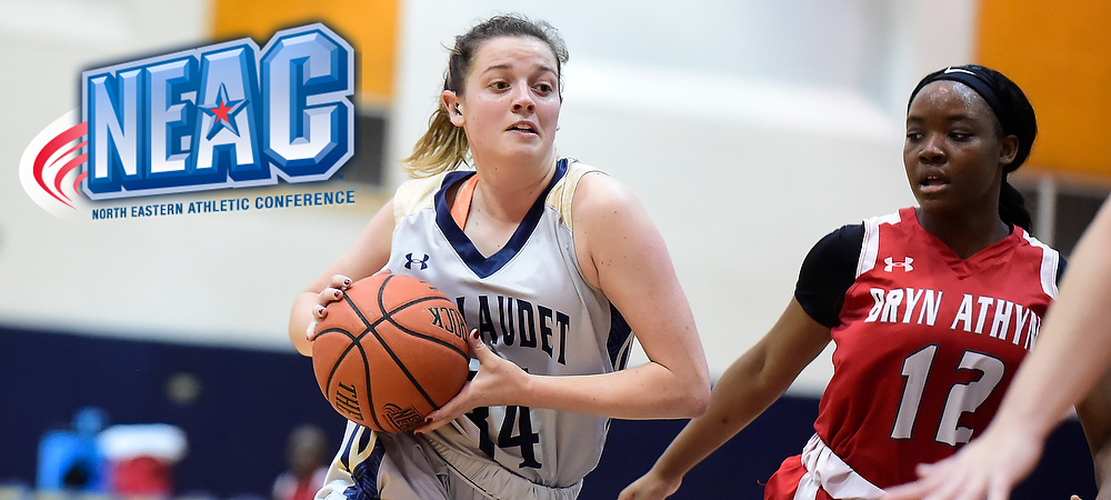 Gallaudet's Hannah Neild, in a gray uniform, drives towards the hoop past a defender, who is wearing a red uniform. A NEAC logo is in the upper left corner.