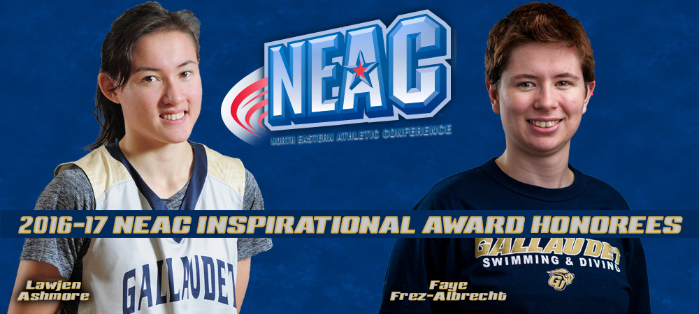 Two Gallaudet student-athletes are featured along with the North Eastern Athletic Conference (NEAC) logo. Women's basketball player Lawjen Ashmore stands with her hands behind her back on the left of the image. She is wearing a gray Gallaudet basketball jersey. Women's swimmer Faye Frez-Albrecht is pictured on the right side of the image. She is wearing a navy blue Gallaudet Swimming & Diving t-shirt. Both student-athletes are smiling and looking straight ahead. Sandwiched between the two student-athletes is the NEAC logo. Both players' names are spelled out over them. A title bar - 2016-17 NEAC Inspirational Award Honorees floats a third of the way up over the two student-athletes.