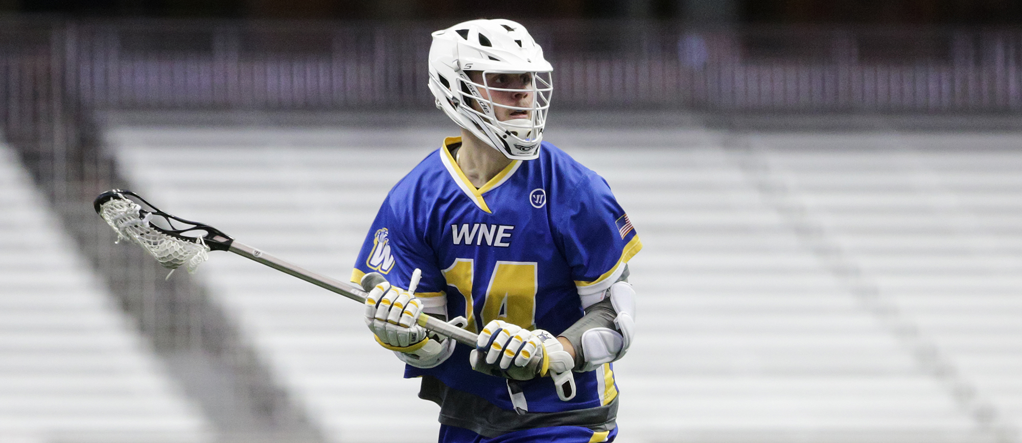 Sophomore Nick Gamba recorded three points in Western New England's 13-5 loss to St. Lawrence at Norfolk Academy on Thursday. (Photo by Chris Cecere)