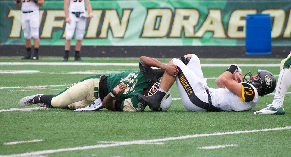 Tyan Young registered a sack in Tiffin's 14-7 win over Michigan Tech.