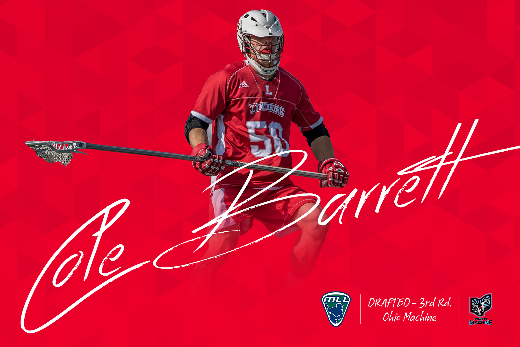 Graphic on red background of Cole Barrett uniform