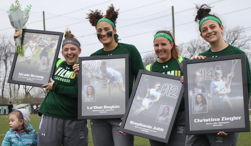Copyright 2018; Wilmington University. All rights reserved. Photo of the seniors on Senior Day prior to the game against Caldwell. Taken by Frank Stallworth. April 7, 2018.